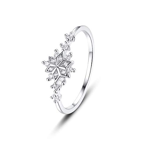 - Madeone ✦18K White Gold Plating Excellent Cut Cubic Zirconia CZ Stone Flower Snowflake Rings Diamond Wedding Engagement Adjustable Rings for Women with Box Packing