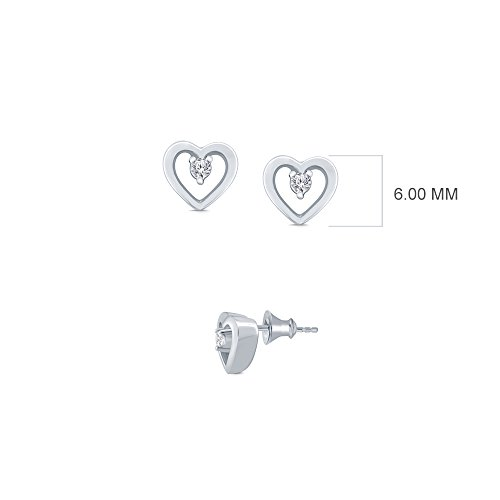 La Joya 0.03ct Round White Natural Diamond 925 Sterling Silver Heart Stud Earring Ear Lobe Cartilage Helix Tiny Earring Independence Day Sale - Baby Diamond Heart