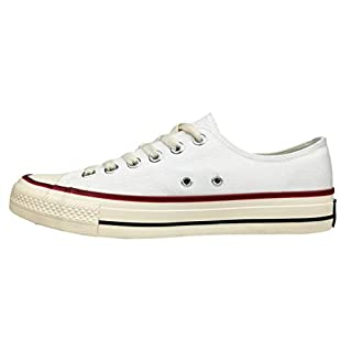Men's Classic Canvas Shoes Casual Low Top Lace Up Fashion Comfortable Walking Sneakers Unisex (White, Numeric_9_Point_5)