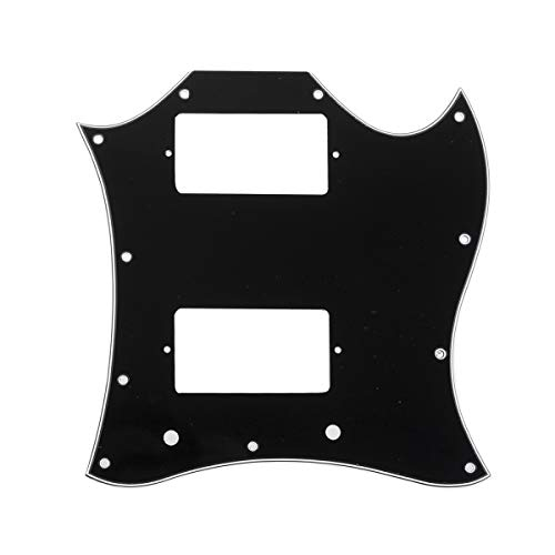 (Musiclily Pro 11-Hole Large Full Face Guitar Pickguard for Gibson American SG, 3Ply Black)