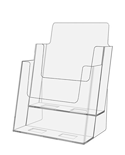 Marketing Holder Clear Acrylic 2-Tier Brochure Holder for 6''w Literature (Clear, 24) by Marketing Holders