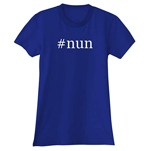 The Town Butler #Nun - A Soft & Comfortable Hashtag Women's Junior Cut T-Shirt, Blue, Large ()
