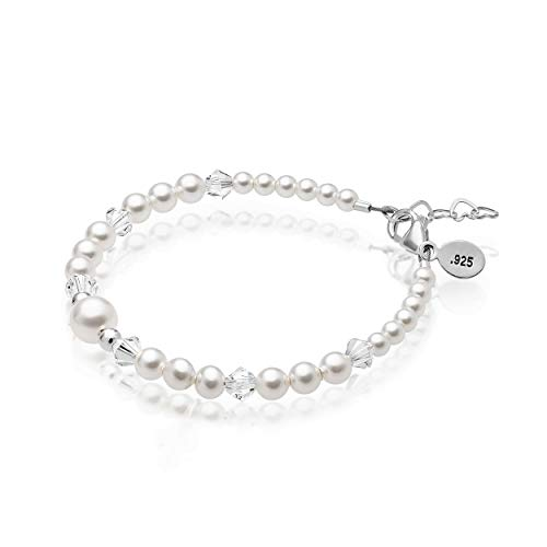 Jewelry Bracelet for Baby Infant Embellished with Swarovski 3, 4, 6mm Simulated Pearls, 4mm Clear Crystals and Silver Beads, 925 Sterling Silver, Keepsake for First Birthday,Birth Newborn 0-12 Months