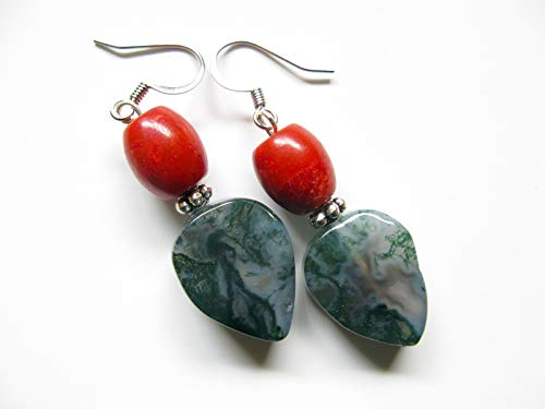 Red Coral Green Moss Agate Natural Stone Earrings Semi Precious Gemstone Dangle Artisan Jewelry ()