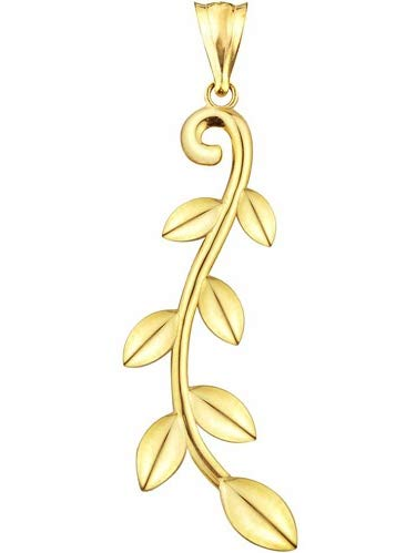 10kt Gold Multi-Leaf Design Charm Pendant