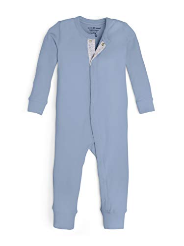 Colored Organics Unisex Baby Organic Cotton Emerson Sleeper - Long Sleeve Infant Coverall - Denim Blue - 0-3M
