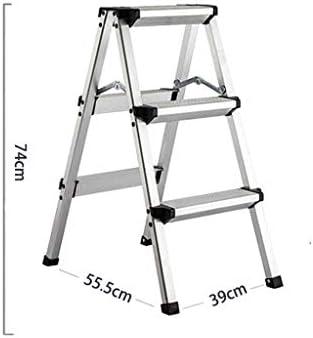 Escalera de taburete de aluminio liviano de 3 peldaños Escalera antideslizante y escalera de barandas Escalera con pedal antideslizante Robusta y ancha para pies de fotografía, hogar y pintura (Plat: Amazon.es: Hogar