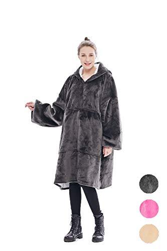 CasualCat Oversized Sweatshirt Blanket,Sherpa Hoodie Wearable Blanket, Reversible, Warm, Soft, Cozy,Large Pocket, One Size for Adults & Children (Grey) ()