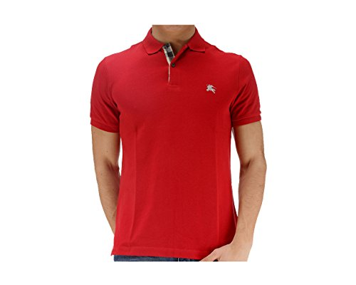 Burberry Brit Men's Military Red Check Cotton Pique Logo Slim Fit Polo T-shirt - Brit Logo Burberry