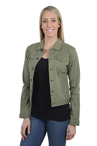 Women's Juniors Premium Stretch Denim Long Sleeve Jacket in Olive Size S