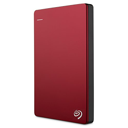 Seagate Backup Plus Slim, 2TB, rot, externe tragbare Festplatte inkl. Backup-Software, USB 3.0, PC + MAC + PS4 (STDR2000203)