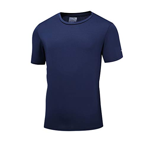 Stoota Men's Summer Casual O-Neck T-Shirt Fitness Sport Fast-Dry Breathable Shirt Top Blouse Dark Blue