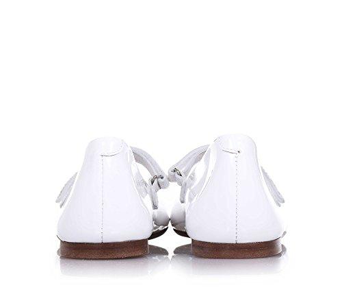 ELI - Ballerine blanche en vernis, réalisée de façon artisanale en Espagne, indiquée pour les occasions de cérémonie, Fille, Filles, Femme, Femmes