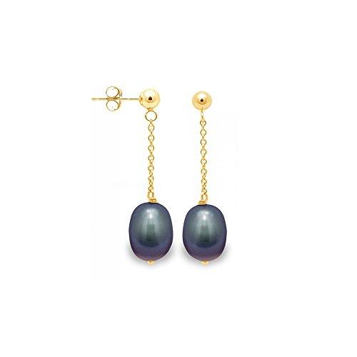 Boucles d'Oreilles Pendantes Perles de Culture Noires et or jaune 750/1000 -Blue Pearls-BPS K340 W NOIR