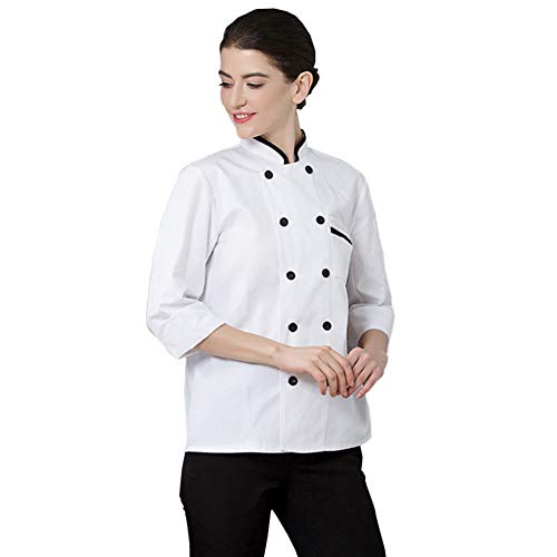 lightclub Double Row Buttons Solid Color Fashion Long Sleeve Pocket Chef Shirt Top Cook Chef Costume For Restaurant Hotel Kitchen White XXL -