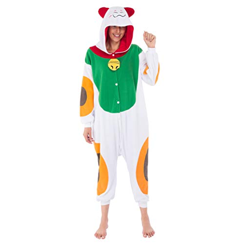 Spooktacular Creations Lucky Cat Onesie Costume Pajamas Adult (Medium) ()