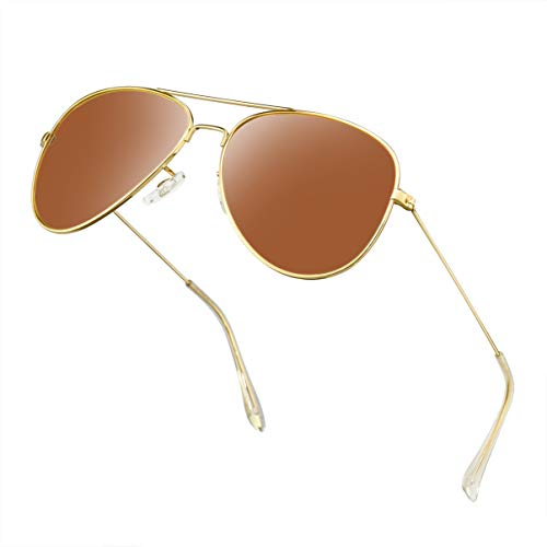(Polarized Aviator Sunglasses for Men/Women Metal Mens Sunglasses Driving Sun Glasses (Brown Lens/Gold Frame))