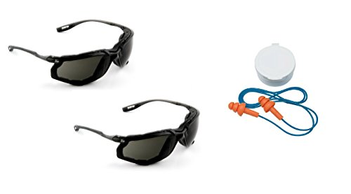 3M Virtua CCS Protective Eyewear 11873-00000-20, Foam Gasket, Anti Fog Lens, Gray (Bundle (Glasses+Earplugs)) by 3M