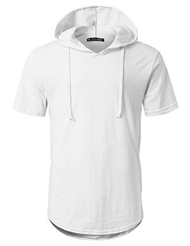 (URBANCREWS Mens Hipster Hip Hop Short Sleeve Pullover Hoodie Shirt White, XL)