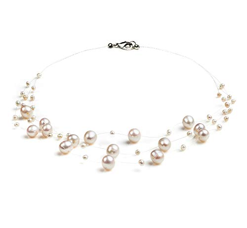 (Mary White 3-9mm A Quality Freshwater Cultured Pearl Necklace for Women-18 in Princess Length)