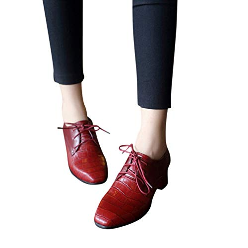 Women's Chunky Heel Lace-Up Ankle Booties Oxford Shoes Mid Heel Ankle Booties Dress Shoes by Lowprofile Red