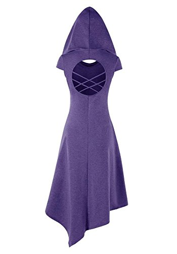 Cross Medieval Hat Halloween Hoodie Foshow Purple with Dress Asymmetrical Cosplay Dresses Criss Midi xwT6AIq6B