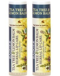 Badger Tea Tree & Lemon Balm Herbal Lip Care (Pack of 2) with Olive Fruit Oil, Beeswax, Castor Seed Oil, Tamanu Seed Oil, Tea Tree Oil, Rosemary Leaf Oil, Peppermint Oil and Lavender Oil, 0.25 oz