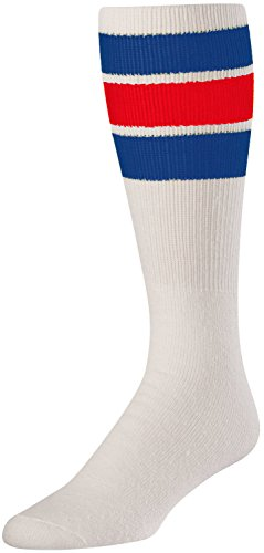 TCK Retro 3 Stripe Tube Socks, Royal/Red, Large -