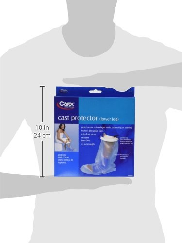 Carex Cast Protector Lower Leg, Protects Lower Leg Casts and Bandages while Showering, Latex Free Plastic with a Tight-Sealing Plastic Ring & Diaphragm by Carex Health Brands (Image #2)