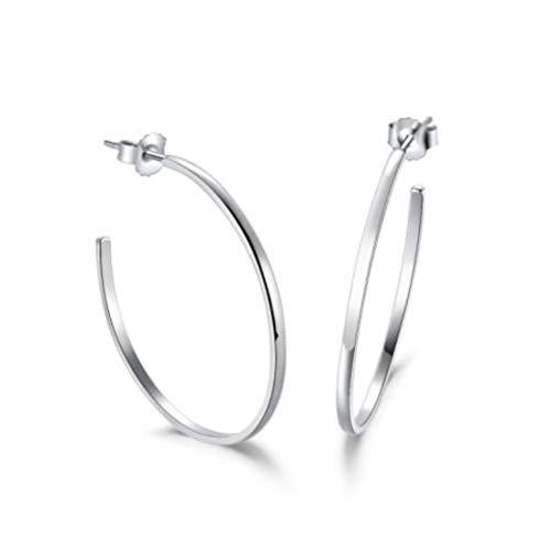 (Carleen High Polished 925 Sterling Silver Hoop Earrings Dainty Fine Jewelry For Women Girls)