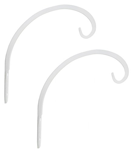 Lantern Planter - GrayBunny GB-6864B Hand Forged Curved Hook, 8.5 Inch, White, 2-Pack, For Bird Feeders, Planters, Lanterns, Wind Chimes, As Wall Brackets and More!