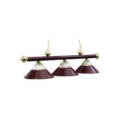 54 Inch 3 Bulb Modern Pool Table Chandelier Light in Antique Brass (Burgundy)