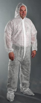 West Chester 3509 L STD WGT Sbp Coverall Hood & Boot, Large, White (Pack of 25)