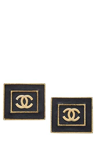 CHANEL Black & Gold Square Earrings (Pre-Owned)