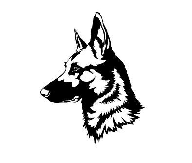 (German Shepherd Head Vinyl Decal Sticker (Black))