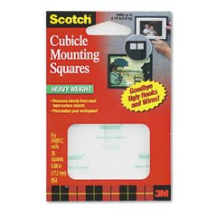 MMM854 - Scotch Permanent Heavy-Duty Mounting Squares for Fabric Walls