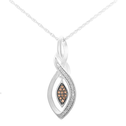 "1/10 CTTW Champagne and White Diamond Cascading Flame Pendant (IJ/ I2I3) with 18"" Silver Chain"