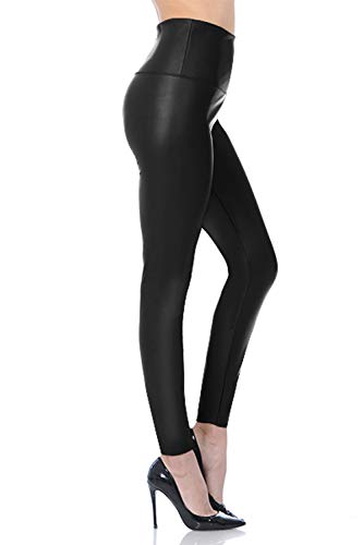 Womens Sexy Tight Fit Faux Leather High Waisted Leggings (Black, L)