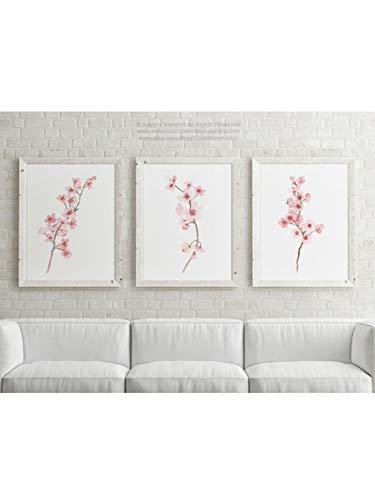 lagifi Cherry Blossom Illustration Blush Pink Cherry Branch Flowers Painting Set 3 Watercolor Paintings Modern Art Print, Canvas Nursery Wall Decor 4050cm3pcs No Frame (Cherry Blossom Illustration)