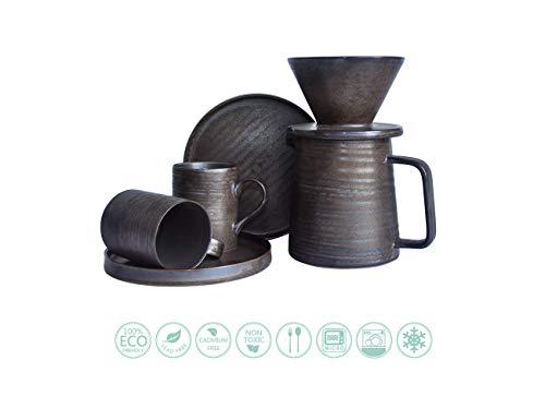 Globe Faith Eco-friendly Coffee Gift, Pour Over Coffee Maker Espresso Coffee Set, Pour Over Coffee Brewer Drip, Coffee Percolator, Coffee Maker Pot & Cups, Retro Annular Vein Metallic Glaze, Antracite