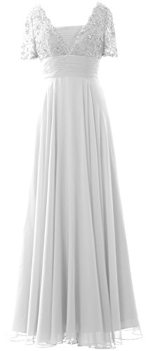 Weiß MACloth Lace Bride Mother Short Sleeves Evening Gown of Dress Women Formal the rwSrq7