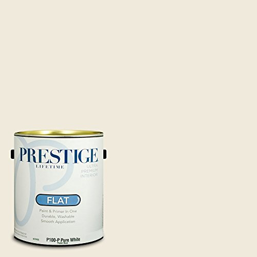 Prestige Paints P100-P-SW6385 Interior Paint and Primer in One, 1-Gallon, Flat, Comparable Match of Sherwin Williams Dover White, 1 Gallon, SW235-Dover