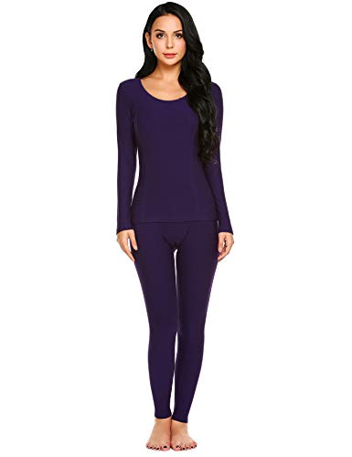Ekouaer Womens Long Thermal Underwear Fleece Lined Winter Base Layering Set,Purple,Small
