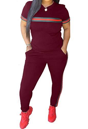 Women's Sweatsuits, Women's 2 Pcs Tracksuit- Round Neck Short Sleeve Top Long Pants Jumpsuit Outfits Set- Sport