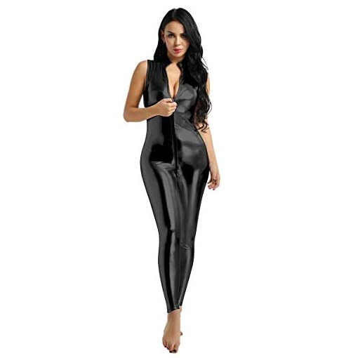 Agoky Womens Shinny Faux Leather Double Zipper Crotch Bodysuit Sleeveless Mock Neck Catsuit Jumpsuit