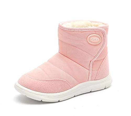 (Kids Snow Boots Boys Girls Winter Outdoor Waterproof Fur Lined Kids Booties(EU 31/13 M US Little Kid-Pink) )