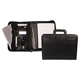 Zippered Tablet-iPad Organizer with Removable Binder, Black Leather, Sold as 1 Each