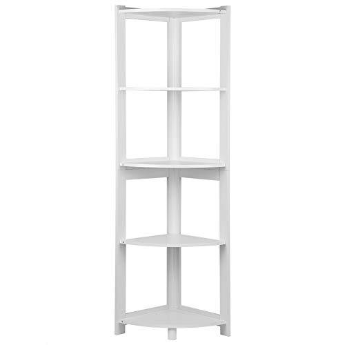White Ejoyous Corner Bookshelf 5 Tier Multipurpose Display Corner Bookcase Storage Rack Plant Stand Organizer Shelving Unit for Home Living Room Kitchen Bath Bedroom Office