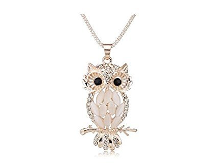 Fashion Stylish Sparkling Owl Crystal Pendant & Necklace For Women And Girls