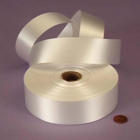 White Embossed Poly Satin Ribbon, (Polypropylene Ribbon)